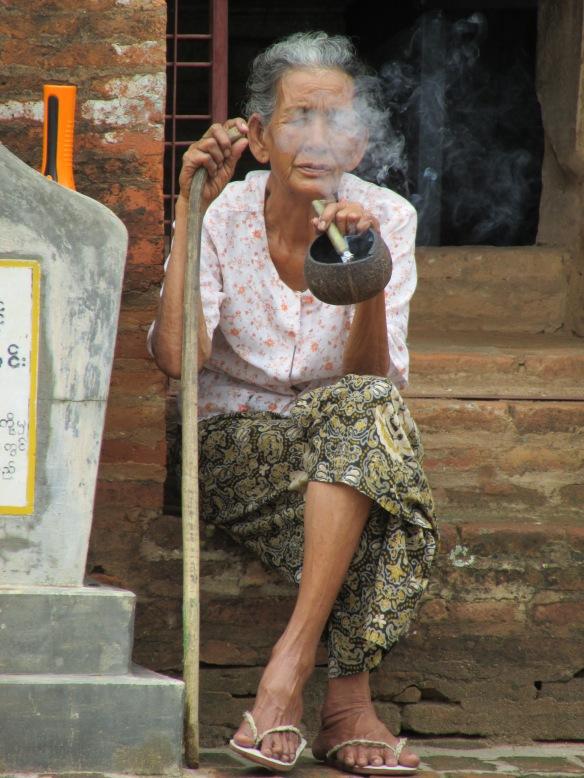 Enjoying a smoke in Bagan, Myanmar 2013