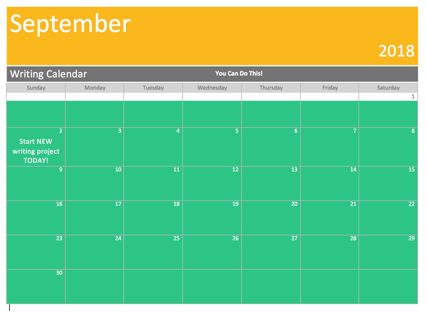 writing calendar